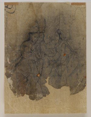 Indian. Ladies Drinking, ca. 1670. Ink, pounced along outline for transfer, sheet: 5 7/8 x 4 1/4 in.  (14.9 x 10.8 cm). Brooklyn Museum, Gift of Marilyn W. Grounds, 80.261.31