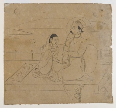 Indian. A Prince Holding a Hookah Embraces his Lady, ca. 1750. Ink on paper, sheet: 6 3/4 x 7 1/4 in.  (17.1 x 18.4 cm). Brooklyn Museum, Gift of Marilyn W. Grounds, 80.261.36