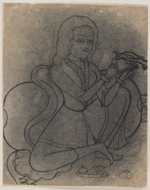 Indian. European Girl Feeding a Parrot, ca. 1780. Ink on paper, pounced for transfer, sheet: 8 5/8 x 6 3/4 in.  (21.9 x 17.1 cm). Brooklyn Museum, Gift of Marilyn W. Grounds, 80.261.40
