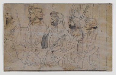 Indian. Portraits of Dhian, Gulab, Ranbir, Sohan, and Udham Singh, ca. 1820. Ink with white wash on paper, sheet: 4 1/2 x 7 1/4 in.  (11.4 x 18.4 cm). Brooklyn Museum, Gift of Marilyn W. Grounds, 80.261.41