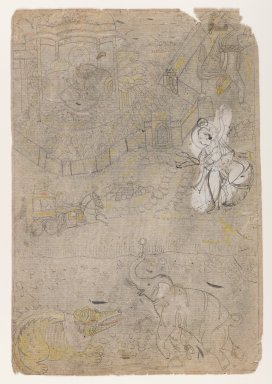 Indian. Gajendra Moksha, ca. 1775. Ink on paper, pounced for transfer, sheet: 12 3/8 x 8 3/8 in.  (31.4 x 21.3 cm). Brooklyn Museum, Gift of Marilyn W. Grounds, 80.261.5