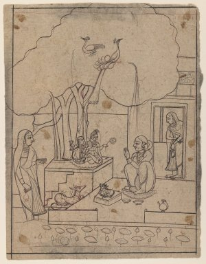 Indian. Bhairavi Ragini, ca. 1760. Ink on paper, sheet: 8 1/2 x 6 1/2 in.  (21.6 x 16.5 cm). Brooklyn Museum, Gift of Marilyn W. Grounds, 80.261.6