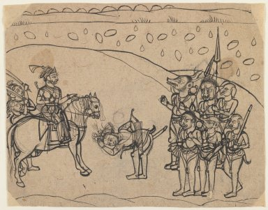 Indian. King Meeting Demon Warriors, ca. 1760. Ink, gesso and color on paper, pounced for transfer, sheet: 6 5/16 x 8 1/8 in.  (16.0 x 20.6 cm). Brooklyn Museum, Gift of Marilyn W. Grounds, 80.261.8