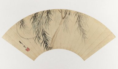 Suzuki Kiitsu (Japanese, 1796-1858). Willow and Moon (Fan Painting), 19th century. Fan painting, ink and light color on paper, Image: 9 1/2 x 20 1/2 in. (24.1 x 52.1 cm). Brooklyn Museum, Gift of Trudel Klefisch, 80.269. Creative Commons-BY