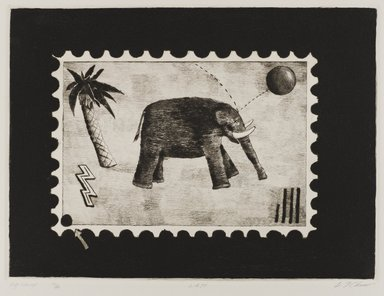 Carl T. Chew (American, born 1948). Big Stamp, 1979. Drypoint, Image: 8 11/16 x 11 3/4 in. (22 x 29.8 cm). Brooklyn Museum, Designated Purchase Fund, 80.26. © artist or artist's estate