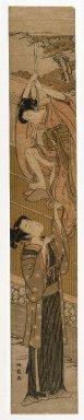 Isoda Koryusai (Japanese, ca. 1766-1788). Lovers Tryst, 18th century. Pillar print, 28 x 4 5/8 in. (71.1 x 11.7 cm). Brooklyn Museum, Gift of Herbert Libertson, 80.273.2