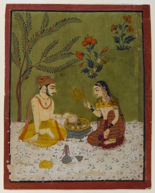 Indian. Couple Seated Under a Tree, ca. 1700. Opaque watercolors, gold, and silver on paper, sheet: 5 3/4 x 4 9/16 in.  (14.6 x 11.6 cm). Brooklyn Museum, Anonymous gift, 80.277.13