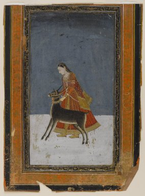 Indian. Lady with a Black Buck, ca. 1750. Opaque watercolors and gold on paper, sheet: 8 1/2 x 6 1/4 in.  (21.6 x 15.9 cm). Brooklyn Museum, Anonymous gift, 80.277.15