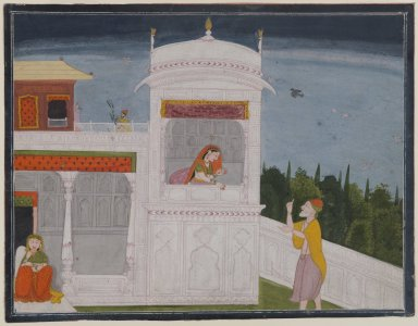 Indian. The Brahmin Sudama and Rukmini in a Palace, Page from the Sudama Episode of Bhagavata Purana Series, ca. 1800 or later. Opaque watercolor on paper, sheet: 8 13/16 x 11 7/16 in.  (22.4 x 29.1 cm). Brooklyn Museum, Anonymous gift, 80.277.17
