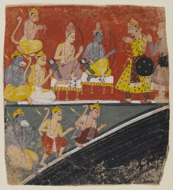 Indian. Rama and Lakshmana Receive Envoys, Page from a Dispersed Ramayana Series, ca. 1634. Opaque watercolor on paper, 6 7/8 x 6 1/4in. (17.5 x 15.9cm). Brooklyn Museum, Anonymous gift, 80.277.2