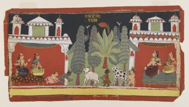 Indian. Krishna and Balarama as Children, ca. 1690. Opaque watercolors and gold on paper, sheet: 7 1/8 x 13 5/8 in.  (18.1 x 34.6 cm). Brooklyn Museum, Anonymous gift, 80.277.4