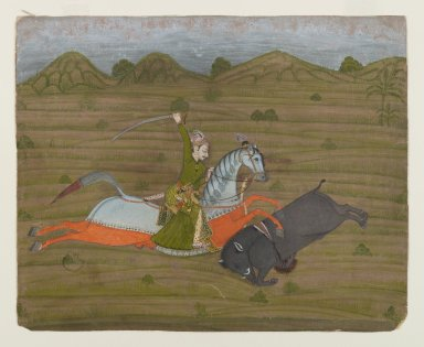 Indian. Prince Hunting Wild Boar (Miniature Painting), ca. 1765. Opaque watercolors and gold on paper, sheet: 7 3/16 x 8 7/8 in.  (18.3 x 22.5 cm). Brooklyn Museum, Anonymous gift, 80.277.5