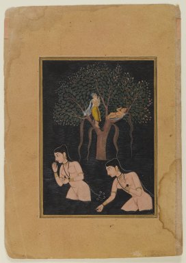 Gopis Bathing (Miniature Painting), ca. 1610. Opaque watercolors and gold on paper, 5 3/4 x 4 1/8 in. (14.6 x 10.4 cm). Brooklyn Museum, Gift of Jeffrey Paley, 80.277.6