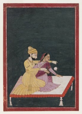 Bhagvan. Harsha Hambira Kalyana Raga, before 1795. Opaque watercolor and gold on paper, sheet: 9 7/16 x 6 5/8 in.  (24.0 x 16.8 cm). Brooklyn Museum, Anonymous gift, 80.277.8
