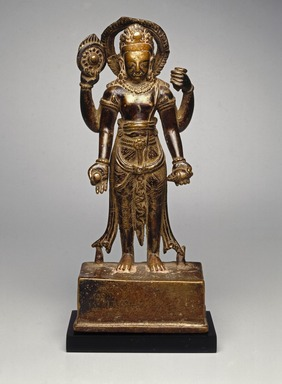 Standing Vishnu, 9th-10th century. Copper alloy, Height 9 1/2 in. (24.1 cm). Brooklyn Museum, Gift of Cynthia Hazen Polsky, 80.278.1. Creative Commons-BY
