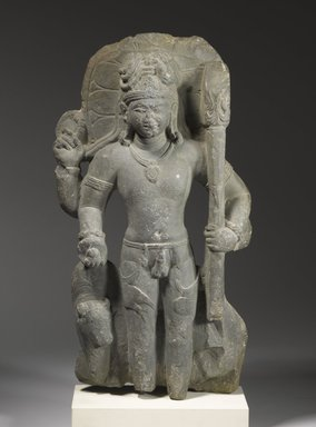Standing Shiva with His Mount Nandi, 5th century. Dark gray-green stone, 20 1/2 in. (52.1 cm). Brooklyn Museum, Gift of Mr. and Mrs. Robert L. Poster, 80.279. Creative Commons-BY
