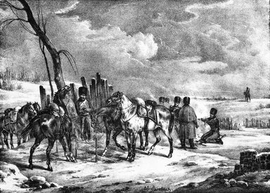 Édouard Swebach (French, 1800-1870). Bivouac De Cavalerie en Russie, 1832. Lithograph on wove paper, 6 x 8 3/8 in. (15.3 x 21.3 cm). Brooklyn Museum, Designated Purchase Fund, 80.30.9