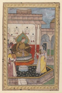 Indian. Miniature Painting, Court Scene, late 16th century. Opaque watercolor on paper, sheet: 6 3/4 x 4 3/8 in.  (17.1 x 11.1 cm). Brooklyn Museum, Gift of Steve M. Kossak, 80.309