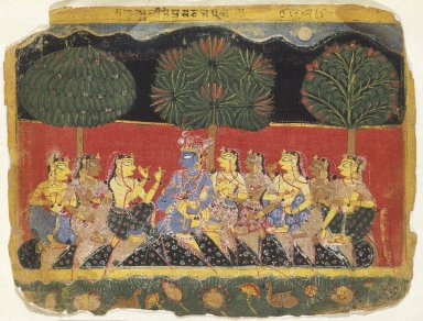 Indian. Krishna and the Gopis, Leaf from a Bhagavata Purana Series, ca. 1540. Opaque watercolor on paper, sheet: 6 7/8 x 9 1/8 in.  (17.5 x 23.2 cm). Brooklyn Museum, Gift of Mr. and Mrs. H. Peter Findlay, 80.41