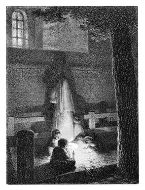 Jean Baptiste Isabey (French, 1767-1855). Enfants Tenant Une Lumiere Dans Une Eglise, 1818. Chalk lithograph on wove paper, 4 5/16 x 3 1/4 in. (11 x 8.2 cm). Brooklyn Museum, Designated Purchase Fund, 80.57.4
