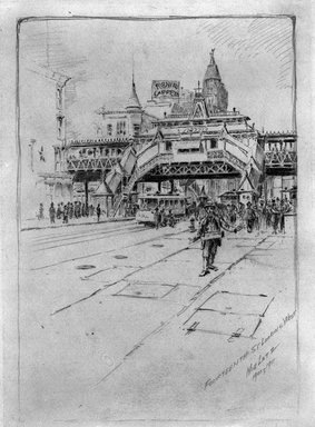 Charles F. W. Mielatz (American, born Germany 1864-1919). Fourteenth Street Looking West, 1900-1911. Graphite on paper, Sheet: 11 3/4 x 8 13/16 in. (29.8 x 22.4 cm). Brooklyn Museum, Designated Purchase Fund, 80.60.11