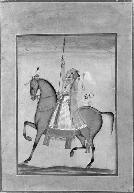 Kasam, Son of Muhammad. Equestrian Portrait of Maharaja Sujan Singh of Bikaner, ca. 1747. Opaque watercolor, silver, and gold on paper, sheet: 11 1/2 x 8 1/8 in.  (29.2 x 20.6 cm). Brooklyn Museum, Gift of Mr. and Mrs. Carl L. Selden, 80.75