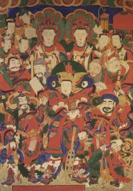 The Five Guardian Generals (O Bang Jang Kun), 19th century. ink, color and gold leaf on silk, 57 11/16 x 40 3/16 in. (146.5 x 102 cm). Brooklyn Museum, Designated Purchase Fund, 80.76