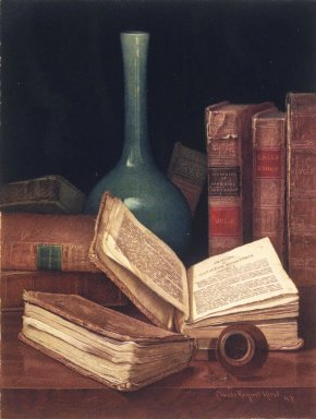 Claude Raguet Hirst (American, 1855-1942). The Bookworm's Table, 1890s. Watercolor over graphite on cream, moderately thick, rough-textured wove paper, 12 1/2 x 9 1/2 in.  (31.8 x 24.1 cm). Brooklyn Museum, Designated Purchase Fund, 80.79
