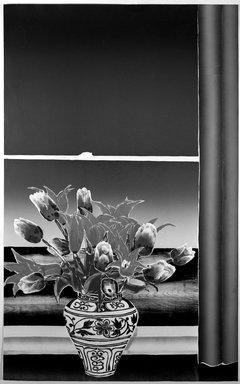 Daniel Joshua Goldstein (American, born 1950). Tulips and Window, 1979. Woodcut Brooklyn Museum, Gift of Stephen Foster, 80.84.1. © Daniel Joshua Goldstein