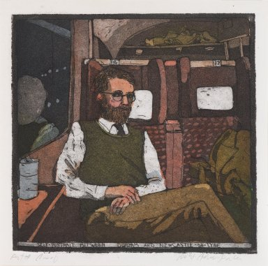 Robert Andrew Parker (American, born 1927). Self Portrait Between Durham and New Castle-on-Tyme, 1979. Intaglio on paper, sheet: 6 1/2 x 6 1/2 in. (16.5 x 16.5 cm). Brooklyn Museum, Designated Purchase Fund, 80.91.5. © Robert Andrew Parker