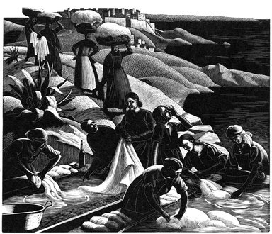 Clare Veronica Hope Leighton (American, born England 1898-1989). Corsican Washerwoman, 1934. Woodcut on paper, Sheet: 11 x 13 7/8 in. (27.9 x 35.2 cm). Brooklyn Museum, Designated Purchase Fund, 80.95.1. © Estate of Clare Veronica Hope Leighton