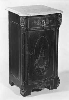 """Nightstand, Part of a """"Cottage"""" Bedroom Suite, ca. 1850. Wood, pigment, marble, metal, 30 3/4 x 17 3/8 x 15 5/8 in. (78.1 x 44.1 x 39.7 cm). Brooklyn Museum, H. Randolph Lever Fund, 81.114.3a-b. Creative Commons-BY"""