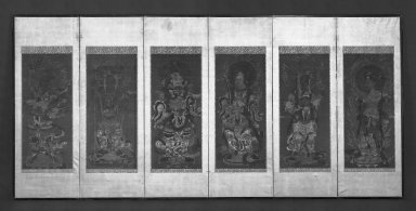 Six of the Juniten (Twelve Devas), 14th century. Six-panel screen, ink and color on silk, 19 1/4 x 54 in. (48.9 x 137.2 cm). Brooklyn Museum, Gift of Mr. and Mrs. Eric F. Freidl, 81.118. Creative Commons-BY
