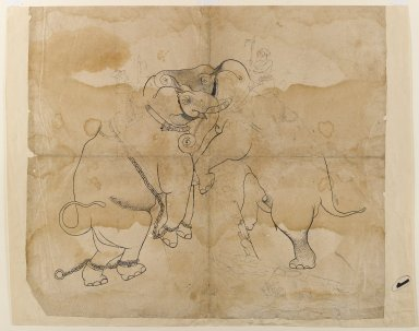 Indian. Elephants Fighting, mid 18th century. Ink on paper, sheet: 21 1/4 x 18 3/8 in.  (54.0 x 46.7 cm). Brooklyn Museum, Gift of Bernice and Robert Dickes, 81.188.3