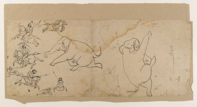 Indian. Preliminary Sketch of an Elephant Hunt, early 19th century. Ink on paper, sheet: 9 x 21 1/2 in.  (22.9 x 54.6 cm). Brooklyn Museum, Gift of Bernice and Robert Dickes, 81.188.6
