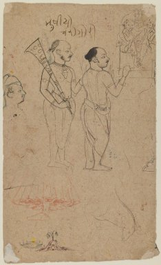Indian. Two Ascetics Before a Shri Nathaji Shrine, ca. 1780. Ink and color on paper, sheet: 19 1/2 x 6 1/4 in.  (49.5 x 15.9 cm). Brooklyn Museum, Gift of Bernice and Robert Dickes, 81.188.7