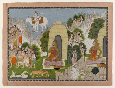 Indian. Arjuna's Penance, Scene from a Mahabharata Series, ca. 1825-1840. Opaque watercolor and gold on paper, sheet: 15 7/16 x 20 1/2 in.  (39.2 x 52.1 cm). Brooklyn Museum, Anonymous gift, 81.192.10