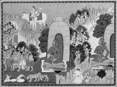 Brooklyn Museum: Arjuna's Penance, Scene from a Mahabharata Series
