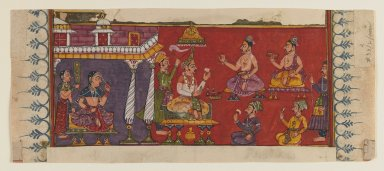 Holymen and Courtiers Assemble Before a Prince, late 17th century. Opaque watercolors and gold on paper, 4 1/8 x 10 in. (10.5 x 25.4 cm). Brooklyn Museum, Gift of Mr. and Mrs. John Kossak, 81.192.1