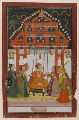 Indian. Hindola Raga, Page from a Dispersed Ragamala Series, ca. 1830. Opaque watercolors and metallic paints on paper, sheet: 10 1/2 x 6 7/8 in.  (26.7 x 17.5 cm). Brooklyn Museum, Anonymous gift, 81.192.2