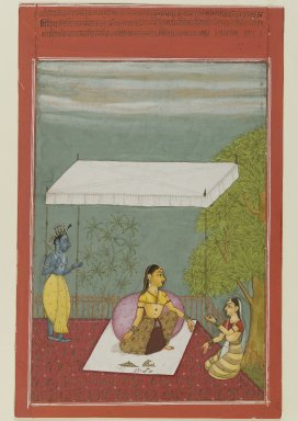 Ibrahim. Nayika Awaits Her Lover, page from a series illustrating the Rasikapriya of Keshavadasa, 1692. Opaque watercolor on paper, sheet: 9 1/2 x 6 1/4 in.  (24.1 x 15.9 cm). Brooklyn Museum, Anonymous gift, 81.192.3