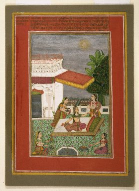 Kasam Ahmad. Radha manifesting the effect of love's separation from Krishna, page from a Rasikapriya series of Keshavadasa, 1749. Opaque watercolor, gold, and silver on paper, sheet: 10 1/4 x 7 5/16 in.  (26.0 x 18.6 cm). Brooklyn Museum, Anonymous gift, 81.192.4
