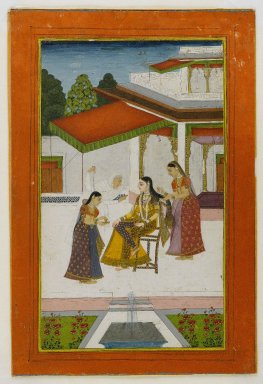 Indian. A Lady Receiving a Messenger, mid 18th century. Opaque watercolors on paper, sheet:10 x 6 3/4 in.  (25.4 x 17.1 cm). Brooklyn Museum, Anonymous gift, 81.192.6