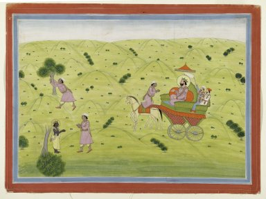 Indian. Page from a Naishadha-carita of Shri Harsha Series, ca. 1800-1825. Opaque watercolor and gold on paper, sheet: 11 5/8 x 15 5/8 in.  (29.5 x 39.7 cm). Brooklyn Museum, Anonymous gift, 81.192.9
