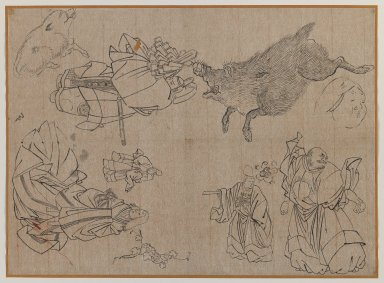 Figures and Animals in the Manner of Hokusai, late 19th century. Brush sketch, ink on paper, Image: 11 x 15 1/4 in. (27.9 x 38.7 cm). Brooklyn Museum, Gift of Dr. Jack Hentel, 81.204.12
