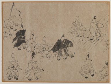 Noblemen and Attendants, 19th-20th century. Brush sketch, ink on paper, Image: 10 3/4 x 14 1/4 in. (27.3 x 36.2 cm). Brooklyn Museum, Gift of Dr. Jack Hentel, 81.204.13