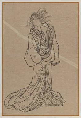 Standing Courtesan, late 19th century. Brush sketch, ink on paper, Image: 14 x 9 3/8 in. (35.6 x 23.8 cm). Brooklyn Museum, Gift of Dr. Jack Hentel, 81.204.15