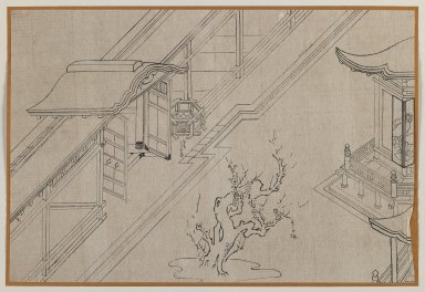 Temple Courtyard with Blossoming Plum Tree, 20th century. Brush sketch, ink on paper, Image: 9 1/2 x 14 in. (24.1 x 35.6 cm). Brooklyn Museum, Gift of Dr. Jack Hentel, 81.204.17
