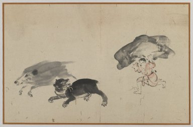 Boar, Bear, and Boy, late 19th century. Brush sketch, ink on paper, Image: 9 3/8 x 14 1/2 in. (23.8 x 36.8 cm). Brooklyn Museum, Gift of Dr. Jack Hentel, 81.204.19