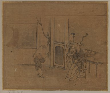 Elderly Couple and Little Boy, 18th century. Ink on silk, Image: 10 5/8 x 12 3/4 in. (27 x 32.4 cm). Brooklyn Museum, Gift of Dr. Jack Hentel, 81.204.25